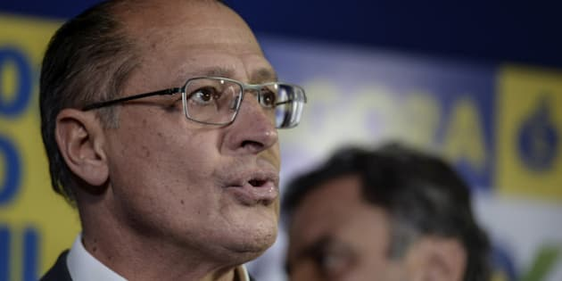 Geraldo Alckmin, governor of the state of Sao Paulo, speaks during a news conference with Aecio Neves, presidential candidate for the Brazilian Social Democracy Party, known as PSDB, (not pictured) in Sao Paulo, Brazil, on Monday, Oct. 6, 2014. Neves pulled off a surprise second-place finish to force a runoff with Brazilian President Dilma Rousseff, pitting a candidate favored by investors against an incumbent who says the end of her party's 12-year rule threatens policies that pulled 35 million out of poverty. Photographer: Paulo Fridman/Bloomberg via Getty Images