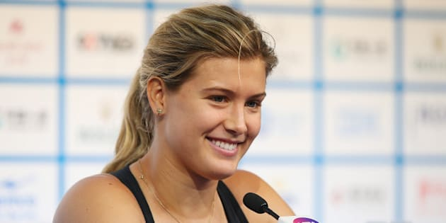 BEIJING, CHINA - SEPTEMBER 29:  Eugenie Bouchard of Canada speaks to media during a press conference on day three of the China Open at the China National Tennis Center on September 29, 2014 in Beijing, China.  (Photo by Chris Hyde/Getty Images)