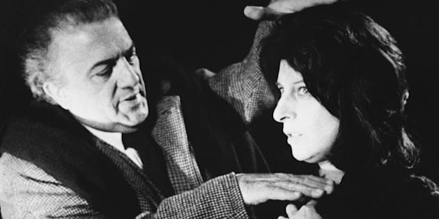 """Federico Fellini the foaming of a close-up of Italian movie and stage star Anna Magnani he Rome in 1970.   He is been on the set of the movie """"Roma"""" which he is directing. (AP Photo)"""