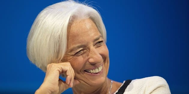 International Monetary Fund Managing Director Christine Lagarde speaks during a CNN Debate on the Global Economy in Washington, DC, October 9, 2014, ahead of the International Monetary Fund (IMF)/World Bank meetings.              AFP PHOTO / Jim WATSON        (Photo credit should read JIM WATSON/AFP/Getty Images)