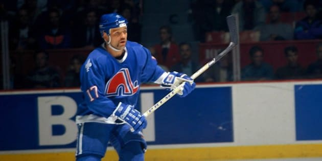 MONTREAL 1990's: Wendel Clark #17 of the Quebec Nordiques skates against the Montreal Canadiens in the mid-1990's at the Montreal Forum in Montreal, Quebec, Canada. (Photo by Denis Brodeur/NHLI via Getty Images)