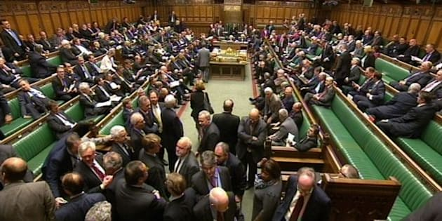 MPs during a Eurosceptic amendment vote expressing regret that the Government had not included an EU referendum Bill in the Queen's Speech, which won the support of 130 MPs tonight, in the House of Commons, London.