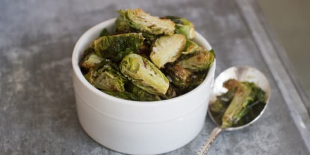 This Sept. 22, 2014 photo shows fried Brussels sprouts in Concord, N.H. Chic menus at restaurants around the country have begun serving Brussels sprouts after kale introduced Americans to the idea that there actually are many ways to prepare most vegetables. (AP Photo/Matthew Mead)