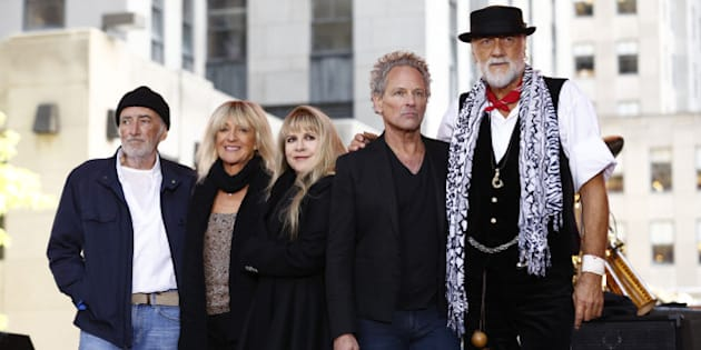 TODAY -- Pictured: (l-r) John McVie of Fleetwood Mac, Christine McVie, Stevie Nicks, Lindsey Buckingham, Mick Fleetwood appear on NBC News' 'Today' show -- (Photo by: Peter Kramer/NBC/NBC NewsWire via Getty Images)