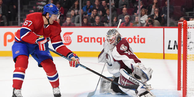 MONTREAL, QC - OCTOBER 18: Calvin Pickard #31 of the Colorado Avalanche makes a kick save after a shot of Max Pacioretty #67 of the Montreal Canadiens in the NHL game at the Bell Centre on October 18, 2014 in Montreal, Quebec, Canada. (Photo by Francois Lacasse/NHLI via Getty Images)