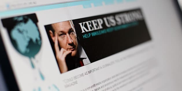 A picture taken on December 3, 2010 in Paris shows a page of the website WikiLeaks featuring its founder Julian Assange. The noose tightened around WikiLeaks as cyber attacks temporarily forced the whistleblowing website off the Internet and its elusive founder Assange faced a fresh arrest warrant.  AFP PHOTO  THOMAS COEX (Photo credit should read THOMAS COEX/AFP/Getty Images)