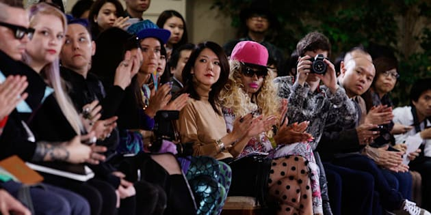 TOKYO, JAPAN - OCTOBER 15:  Guests sit in the front row during the LAMARCK show as part of Mercedes Benz Fashion Week TOKYO 2015 S/S at Shibuya Hikarie on October 15, 2014 in Tokyo, Japan.  (Photo by Lisa Maree Williams/Getty Images)