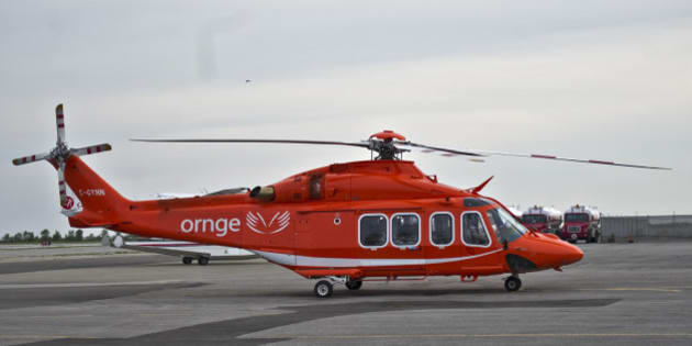 An ORNGE helicopter sits at Toronto's Island Airport, Saturday June 16, 2012. TARA WALTON/TORONTO STAR (Photo by Tara Walton/Toronto Star via Getty Images)
