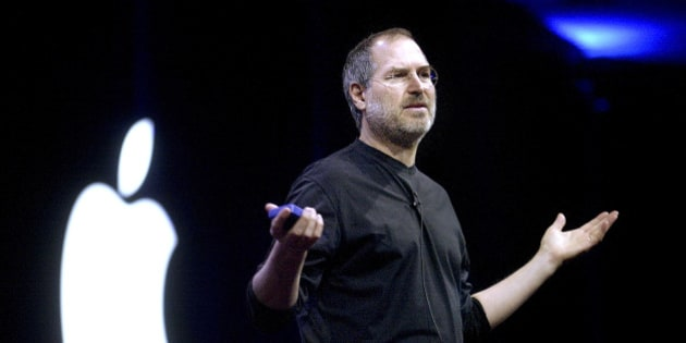 FILE: Steve Jobs, chief executive officer and co-founder of Apple Inc., delivers a keynote address at his company's Worldwide Developer Conference in San Francisco, California, U.S., on Monday, June 23, 2003. Jobs, who built the world's most valuable technology company by creating devices that changed how people use electronics and revolutionized the computer, music and mobile-phone industries, died Wednesday, Oct. 5, 2011. He was 56. Photographer: Noah Berger/Bloomberg via Getty Images