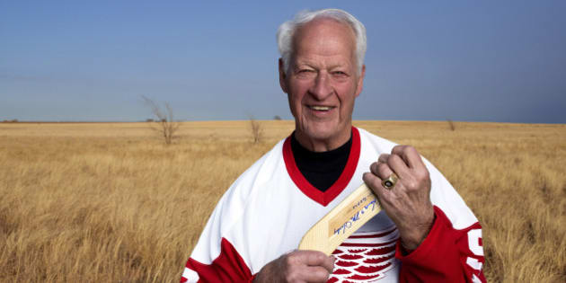 """In an undated image provided by Crown Media United States, former Detroit Red Wings hockey great Gordie Howe is seen. A made-for-TV movie, """"Mr. Hockey: The Gordie Howe Story,"""" focuses on the season the Hall-of-Famer teamed up with his sons in Houston. The U.S. premiere of the film is Saturday, May 4, 2013. (AP Photo/Crown Media United States, Andrew Eccles)"""