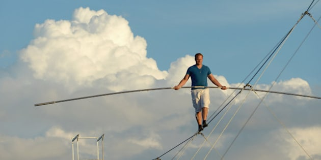 SARASOTA, FL - OCTOBER 08:  Nik Wallenda trains for his upcoming walk across the Chicago kyline on October 8, 2014 in Sarasota, Florida. Nik Wallenda's walk across the Chicago skyline on November 2nd will be broadcast live by the Discovery Channel. (Photo by Tim Boyles/Getty Images)