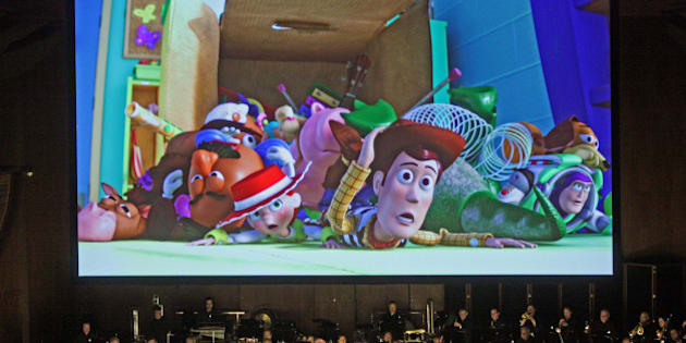 David Newman leads the New York Philharmonic in 'Pixar in Concert' at Avery Fisher Hall on Thursday night, May 1, 2014.This image:'Toy Story 3.'(Photo by Hiroyuki Ito/Getty Images)