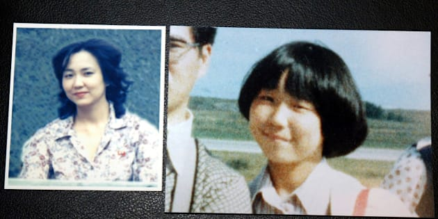TOKYO - OCTOBER 3:  Photographs of Japanese abductee, Megumi Yokota, at 13 (R) and at 20, taken in North Korea, is shown at a news conference October 3, 2002 in Tokyo, Japan. Yokota was the youngest national kidnapped, abducted on her way home from badminton practice. She and other nationals were abducted in the 1970s and 80s to teach Japanese language and customs in spy schools in North Korea.  (Photo by Koichi Kamoshida/Getty Images)