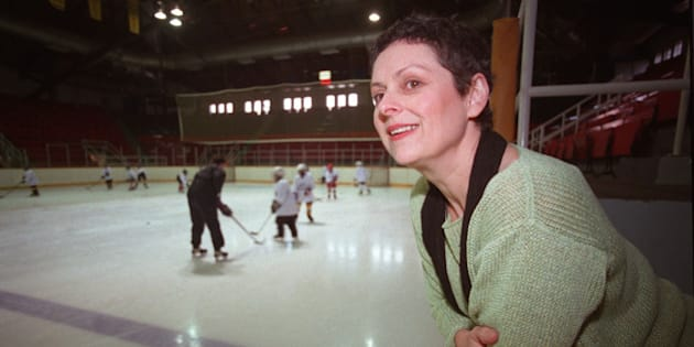 03/12/2002Toronto On. Rick Eglinton Toronto Star.1.Gabrielle Rose playing leading role as hockey mom in Canadian movie production. NOte.photographed here in Toronto arena. (Photo by Rick Eglinton/Toronto Star via Getty Images)