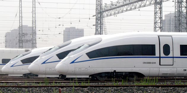 SHENYANG, CHINA - JUNE 27:  (CHINA OUT) CRH380B trains, which will service the Harbin-Dalian high-speed railway, are seen on June 27, 2012 in Shenyang, China. The 904-km-long Harbin-Dalian line, which links three provinces in northeast China, is the first high-speed railway in the region, expected to start service in July.  (Photo by ChinaFotoPress/ChinaFotoPress via Getty Images)