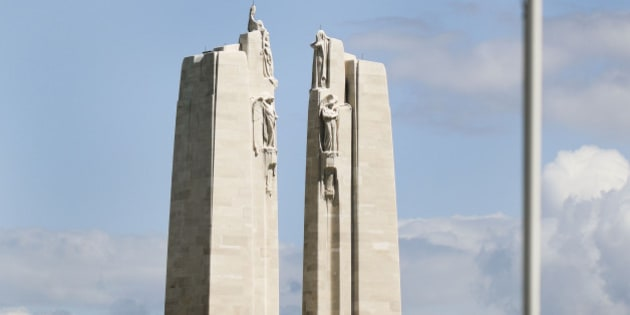 Vimy France - May 12  The Vimy Ridge Canadian memorial. Vimy Ridge became a very important victory for the Allies and particularly for Canadian soldiers.  In their honour, an enormous memorial is on top of the ridge surrounded by tranches, tunnels and a landscape pockmarked by shell craters, now grassed over.