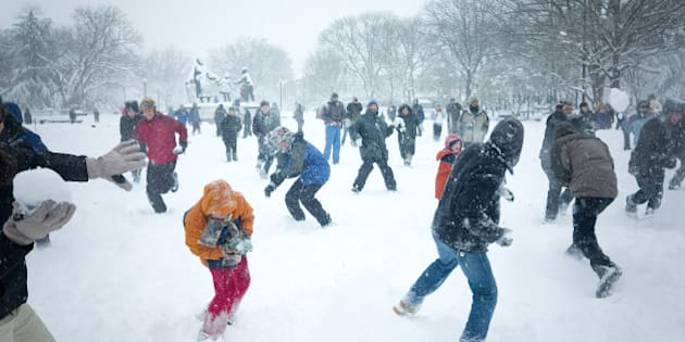 The snowball fight in Lincoln Park on Capitol Hill.