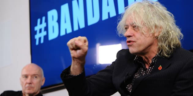 LONDON, ENGLAND - NOVEMBER 10:  Sir Bob Geldof and Midge Ure attend a press Briefing to launch BandAid30 on November 10, 2014 in London, England.  (Photo by Stuart C. Wilson/Getty Images)