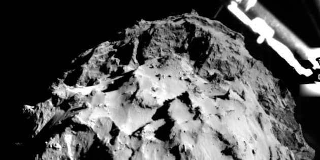 DARMSTADT, GERMANY - NOVEMBER 12: The image shows the surface of the comet 67P/CG acquired by the ROLIS instrument on the Philae lander during descent on November 12, 2014 from a distance of approximately 3 km from the surface. The landing site is imaged with a resolution of about 3m per pixel. The lander is separated from Rosetta earlier on November 12 and headed towards the surface of the comet Churyumov-Gerasimenko 67P which is moving at the speed of more than 80,000 miles (128,747 kilometers) per hour. The probe is named after the Rosetta stone, a stele of Egyptian origin and the lander is named after Philae, an island in Lake Nasser, Egypt. (Photo by European Space Agency/Pool/Anadolu Agency/Getty Images)