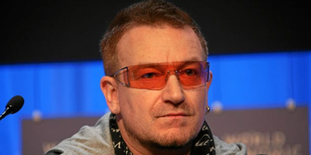 """DAVOS/SWITZERLAND, 24JAN08 - Bono, Musician, DATA (DEBT, AIDS, TRADE, AFRICA), United Kingdom captured during the session 'A Unified Earth Theory: Combining Solutions to Extreme Poverty and the Climate Crisis' at the Annual Meeting 2008 of the World Economic Forum in Davos, Switzerland, January 24, 2008.   Copyright <a href=""""http://www.weforum.org"""" rel=""""nofollow"""">World Economic Forum</a> (<a href=""""http://www.weforum.org"""" rel=""""nofollow"""">www.weforum.org</a>) <a href=""""http://www.swiss-image.ch/Photo"""" rel=""""nofollow"""">www.swiss-image.ch/Photo</a> by Remy Steinegger"""