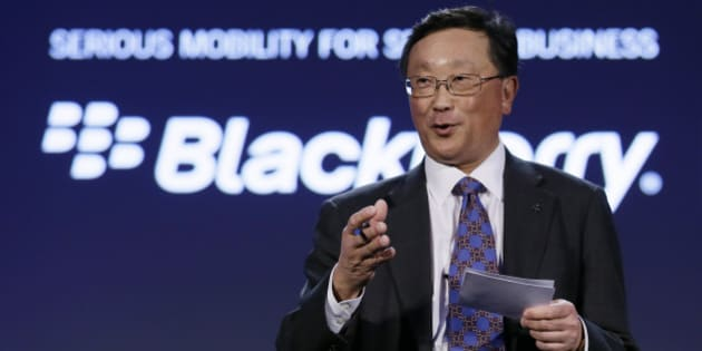 BlackBerry CEO John Chen gestures speaks during the BlackBerry Enterprise Portfolio Launch event Thursday, Nov. 13, 2014, in San Francisco. BlackBerry is expanding its efforts to sell mobile-security software on its rivals' smartphones and tablets to help counter the waning popularity of its own devices. (AP Photo/Eric Risberg)