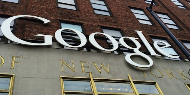 A Google sign hangs on their headquarters May 21, 2014 in New York City.