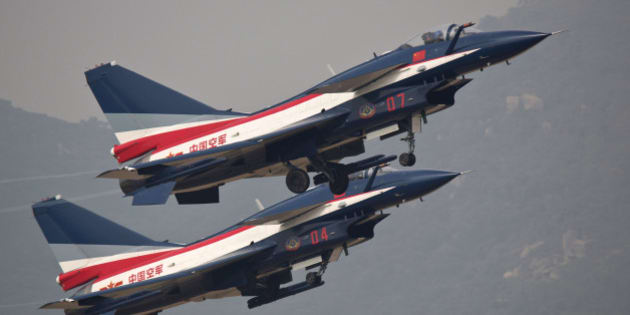 ZHUHAI, CHINA - NOVEMBER 11: (CHINA OUT) J10 perform in the air during the 10th China International Aviation & Aerospace Exhibition on November 11, 2014 in Zhuhai, Guangdong province of China. The 10th China International Aviation & Aerospace Exhibition organized by Zhuhai Airshow Co., Ltd. is being held until November 16 in Zhuhai. (Photo by ChinaFotoPress/ChinaFotoPress via Getty Images)