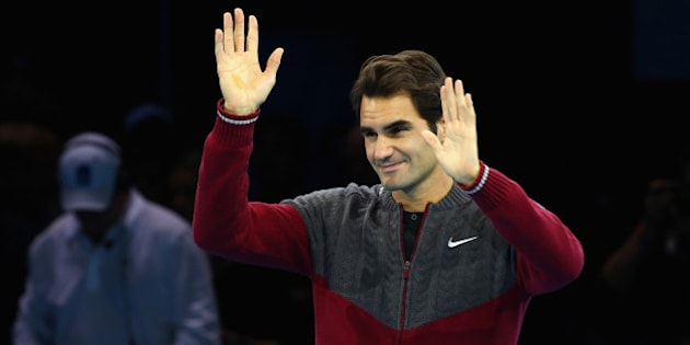 LONDON, ENGLAND - NOVEMBER 16:  Roger Federer of Switzerland waves after announcing his decision to withdraw from the singles final match against Novak Djokovic of Serbia on day eight of the Barclays ATP World Tour Finals at O2 Arena on November 16, 2014 in London, England.  (Photo by Clive Brunskill/Getty Images)
