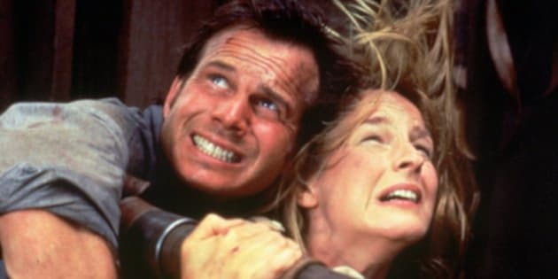 The special effects are a knockout in the movie ``Twister,'' as Helen Hunt and Bill Paxton, cling to each other.  (AP Photo)