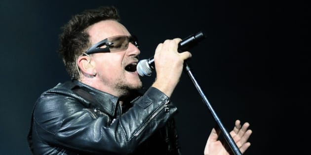 Lead singer Bono of Irish band U2 performs during their 360 Degree Tour at Athen's Olympic stadium, Greece, on Friday, Sept. 3, 2010. (AP Photo)