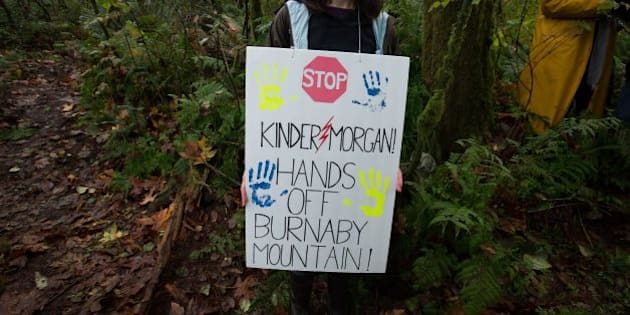 A protester carries a sign on a trail on Burnaby Mountain near where work is being done by Kinder Morgan in preparation for the Trans Mountain Pipeline expansion project in Burnaby, B.C., on Wednesday October 29, 2014. The proposed $5-billion expansion would nearly triple the capacity of the pipeline that carries crude oil from near Edmonton to the Vancouver area to be loaded on tankers. THE CANADIAN PRESS/Darryl Dyck