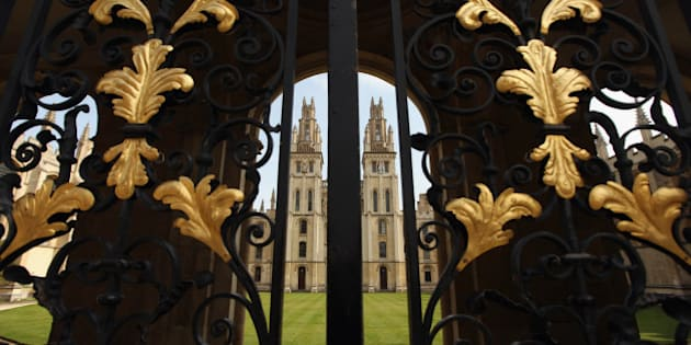 OXFORD, ENGLAND - MARCH 22:  All Souls' College quadrangle seen through its Radcliffe Square gate on March 22, 2012 in Oxford, England.  (Photo by Oli Scarff/Getty Images)