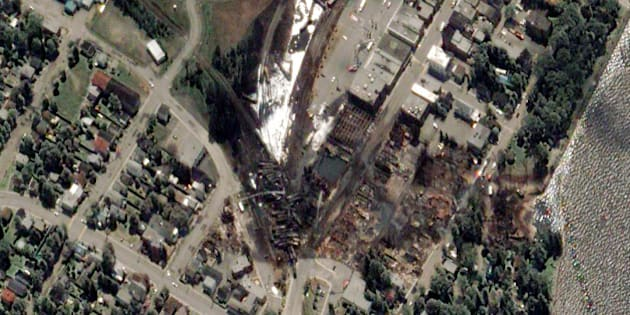 TRAIN EXPLOSION, LAC MEGANTIC, QUEBEC, CANADA - JULY 7, 2013:  This is a satellite image taken the day after a train exploded in Lac Megantic, Canada.  (Photo DigitalGlobe via Getty Images)