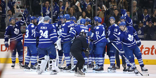 TORONTO, ON- NOVEMBER 22  - Leafs salute the fans after the win in third period action as the  Toronto Maple Leafs beat the Detroit Red Wings 4-1 in the  Air Canada Centre in Toronto. November 22, 2014.        (Steve Russell/Toronto Star via Getty Images)