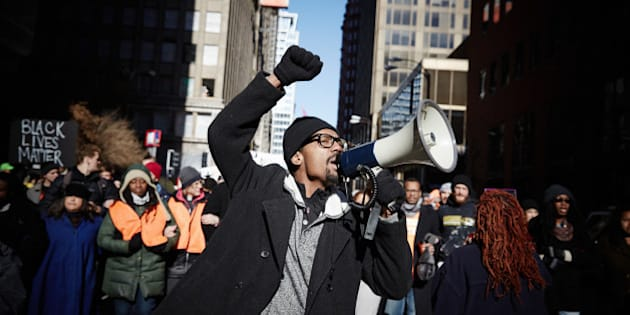 ST. LOUIS, MISSOURI - NOVEMBER 25: Protesters occupy the streets of St. Louis. A St. Louis County grand jury decided to not indict Ferguson police Officer Darren Wilson in the shooting of Michael Brown. November 25, 2014. (Photo by Sebastiano Tomada/Getty Images)