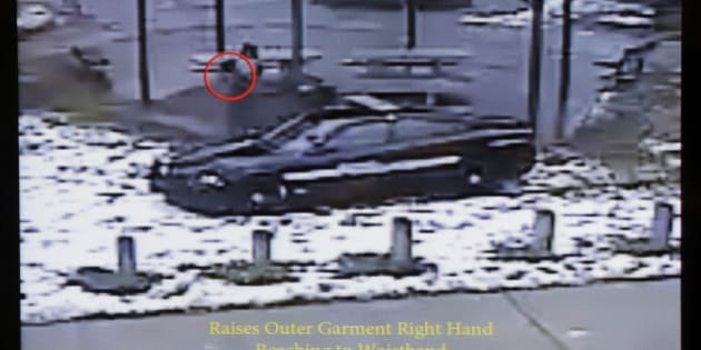 This still image taken from a surveillance video played at a news conference held by Cleveland Police, Wednesday, Nov. 26, 2014, shows Cleveland police officers arriving at Cudell Park on a report of a man with a gun.  Twelve-year-old Tamir Rice was fatally shot by a Cleveland police officer Saturday, Nov. 22, 2014, after he reportedly pulled a replica gun at the city park.  (AP Photo/Mark Duncan)