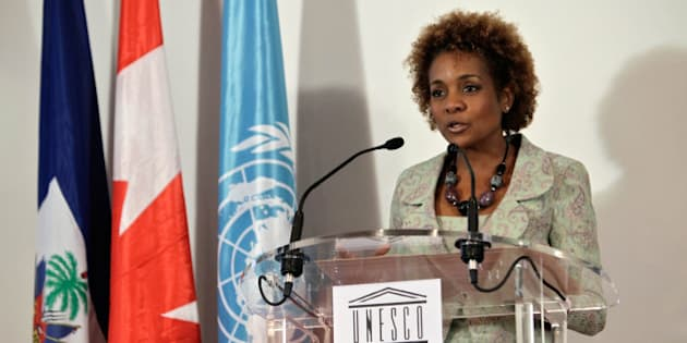Canadian former Governor General Michaelle Jean during her speech after receiving the certificate of special UNESCO envoy to Haiti, in Paris, Monday Nov. 8, 2010. (AP Photo/Thibault Camus)