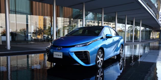A Toyota Motor Corp. Mirai fuel-cell powered vehicle is displayed during the launch event in Tokyo, Japan, on Tuesday, Nov. 18, 2014. Toyota will start selling its Mirai fuel-cell vehicle next month for 7.24 million yen ($63,000), which Japan will subsidize with the aim of repeating the success of the world's most popular hybrid. Photographer: Tomohiro Ohsumi/Bloomberg via Getty Images