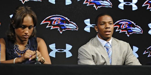 Ravens running back Ray Rice, right, and his wife Janay made statements to the news media May 5, 2014, at the Under Armour Performance Center in Owings Mills, Md, regarding his assault charge for knocking her unconscious in a New Jersey casino. On Monday, Sept. 9, 2014, Rice was let go from the Baltimore Ravens after a video surfaced from TMZ showing the incident. (Kenneth K. Lam/Baltimore Sun/MCT via Getty Images)