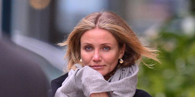NEW YORK, NY - NOVEMBER 25:  Cameron Diaz seen on the streets of Chelsea on November 25, 2014 in New York City.  (Photo by James Devaney/GC Images)