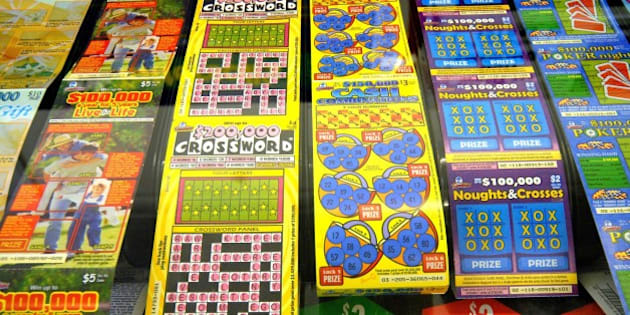 AUSTRALIA - AUGUST 24:  Rows of Tattersall's Ltd.'s scratch lottery tickets are displayed at the counter of a newspaper shop in Melbourne, Australia, on Friday, Aug. 24, 2007. Tattersall's Ltd., Australia's second-largest gaming company, tripled second-half profit on the acquisition of betting-shop owner Unitab Ltd. and increased wagering on horse races.  (Photo by Carla Gottgens/Bloomberg via Getty Images)