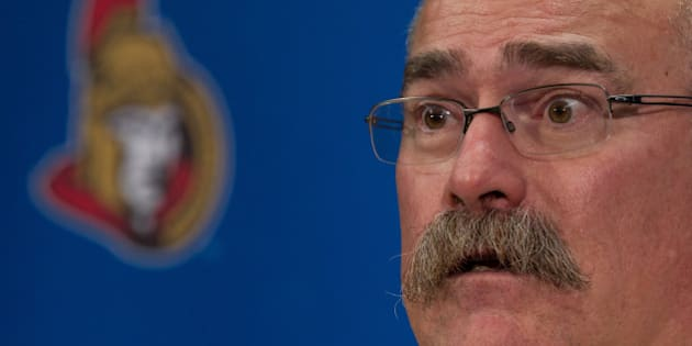 OTTAWA, ON - NOVEMBER 15: Head coach Paul MacLean of the Ottawa Senators talks to the media following their win during an NHL game against the Boston Bruins at Canadian Tire Centre on November 15, 2013 in Ottawa, Ontario, Canada.  (Photo by Jana Chytilova/Freestyle Photography/Getty Images)