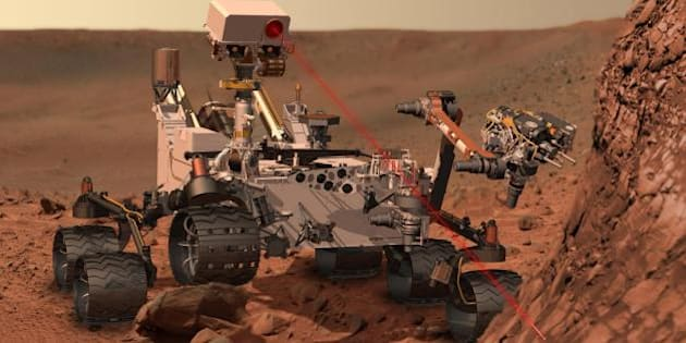 """On Saturday, November 26, NASA is scheduled to launch the Mars Science Laboratory (MSL) mission featuring Curiosity, the largest and most advanced rover ever sent to the Red Planet.   The Curiosity rover bristles with multiple cameras and instruments, including Goddard's Sample Analysis at Mars (SAM) instrument suite. By looking for evidence of water, carbon, and other important building blocks of life in the Martian soil and atmosphere, SAM will help discover whether Mars ever had the potential to support life. Curiosity will be delivered to Gale crater, a 96-mile-wide crater that contains a record of environmental changes in its sedimentary rock, in August 2012.  ------  This artist's concept depicts the rover Curiosity, of NASA's Mars Science Laboratory mission, as it uses its Chemistry and Camera (ChemCam) instrument to investigate the composition of a rock surface. ChemCam fires laser pulses at a target and views the resulting spark with a telescope and spectrometers to identify chemical elements. The laser is actually in an invisible infrared wavelength, but is shown here as visible red light for purposes of illustration.   NASA's Jet Propulsion Laboratory, a division of the California Institute of Technology, Pasadena, manages the Mars Science Laboratory Project for the NASA Science Mission Directorate, Washington, and designed and built Curiosity.  More information about Curiosity is at <a href=""""http://mars.jpl.nasa.gov/msl/"""" rel=""""nofollow"""">mars.jpl.nasa.gov/msl/</a>.   Image Credit: NASA/JPL-Caltech   <b><a href=""""http://www.nasa.gov/audience/formedia/features/MP_Photo_Guidelines.html"""" rel=""""nofollow"""">NASA image use policy.</a></b>  <b><a href=""""http://www.nasa.gov/centers/goddard/home/index.html"""" rel=""""nofollow"""">NASA Goddard Space Flight Center</a></b> enables NASA's mission through four scientific endeavors: Earth Science, Heliophysics, Solar System Exploration, and Astrophysics. Goddard plays a leading role in NASA's accomplishments by contributing compellin"""