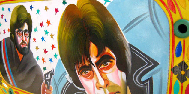 Instead of the usual Bollywood mudflaps this is a painting on the back window of a rickshaw. Its amazing how inventive local artists get at ways to decorate vehicles! Artwork by Bobby Solanki. Right: Amitabh Bachchan in Sholay.