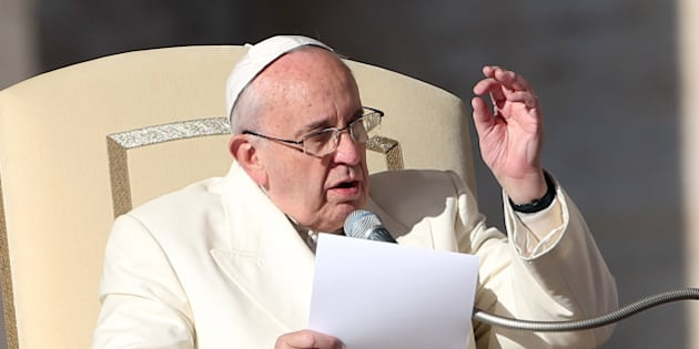 VATICAN CITY, VATICAN - DECEMBER 10:  Pope Francis speaks during his weekly audience in St. Peter's Square on December 10, 2014 in Vatican City, Vatican. The Holy Fathertold the thousands of faithful present that he wanted to share with them what took place and what the last Synod on the Families has produced.  (Photo by Franco Origlia/Getty Images)
