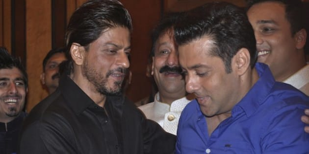 MUMBAI, INDIA  JULY 06: Sharukh Khan and Salman Khan at MLA Baba Siddiquis annual Iftar Party in Mumbai.(Photo by Milind Shelte/India Today Group/Getty Images)