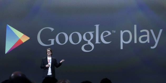 Chris Yerga, engineering director of Android, speaks about Google Play at Google I/O 2013 in San Francisco, Wednesday, May 15, 2013. (AP Photo/Jeff Chiu)