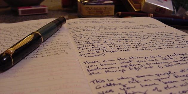 The holy trinity of writing: pen...ink...paper.