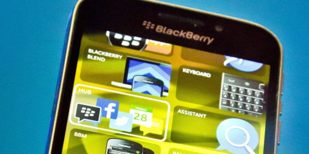 BlackBerry's new BlackBerry Classic phone is displayed during a news conference, Wednesday, Dec. 17, 2014, in New York. (AP Photo/Bebeto Matthews)