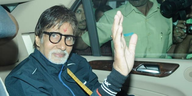 KOLKATA, INDIA - NOVEMBER 2: Bollywood actor Amitabh Bachchan arrived at kolkata Airport to shoot for Bollywood director Shoojit Sircar's film, Piku, in Nonapukur Tram Depot, on November 2, 2014 in Kolkata, India. The film also stars Deepika Padukone and Irrfan. Bachchan, who plays's Deepika's father in the film, was seen riding a bicycle on the first day of the shoot. (Photo by Samir Jana/Hindustan Times via Getty Images)